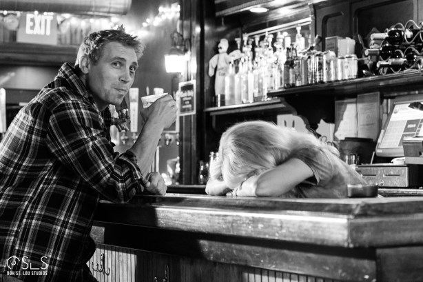 Actors Brock Roberts and Jillanne Barnes on set at Ryder's Tavern in south St. Louis.