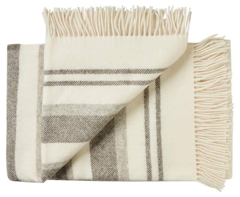 Wollen deken wit strepen  Fijne tweepersoons deken