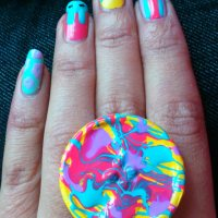 Neon Button Ring
