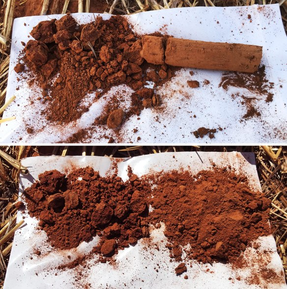 The high potassium layer can be clearly seen on the right. The top photo is how the sample came out of the ground, in the bottom photo it has been manually broken up