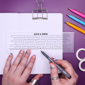 Bullet journal grid guide ruler with spaces
