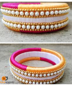 Pink-Yellow-White Silk Thread Bangle | Ethnic Essence