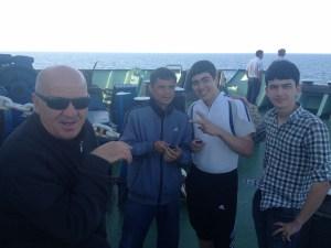 Lewan the Georgian truck driver and my cabin mates Oleg, Ruslan, and Dawut.