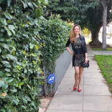 bebe-lace-dress-and-bebe-jacket-banana-republic-red-heels-and-clutch