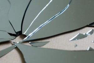 sharp pieces of glass from a broken mirror - for the superstitious thats 7 years bad luck