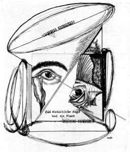 BAARGELD Das menschliche Auge und ein Fisch, letzterer versteinert 1920
