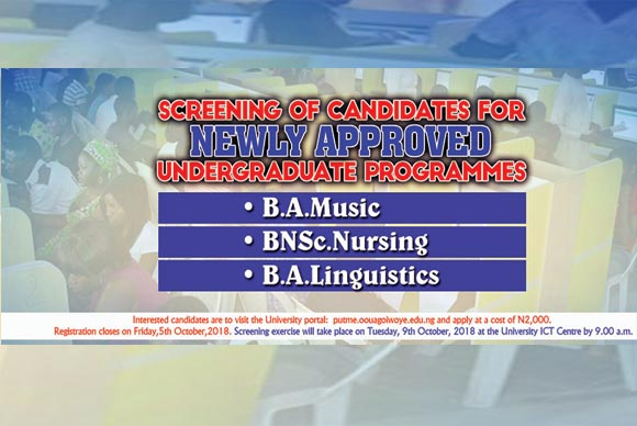 Screening of Candidates for newly Approved Undergraduate Programmes