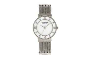 Bertha Dawn Mother-of-Pearl Cable Bracelet Watch, Silver