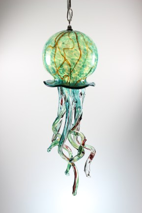 Silver Green/White with Ruby Veining Pendant Jelly Fish 7 1/2x15