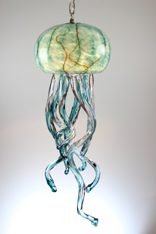 SGreen/Ruby Veining Jellyfish Chandelier 9x24