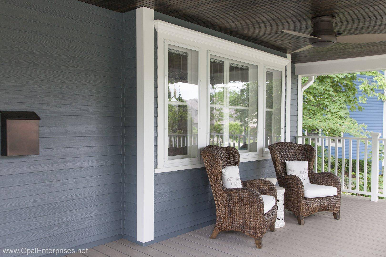 Front Porch Chairs Wow Complete Exterior Remodel With Evening Blue Fiber