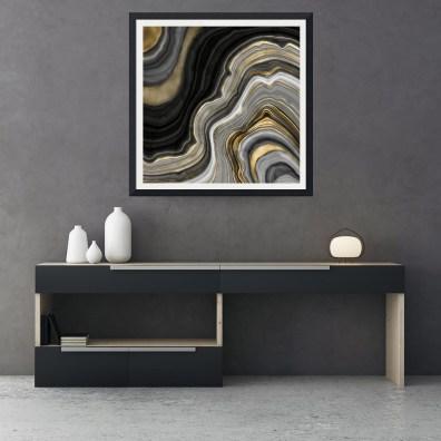 GOLD AND BLACK AGATE STONE MARBLE GEODE MODERN ART PRINT