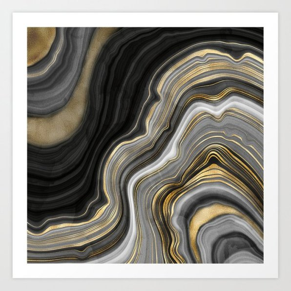 Gold And Black Agate Stone Marble Geode Modern Art Print