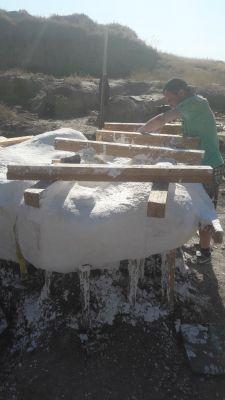 Opgraving triceratops Het grote blok met frame
