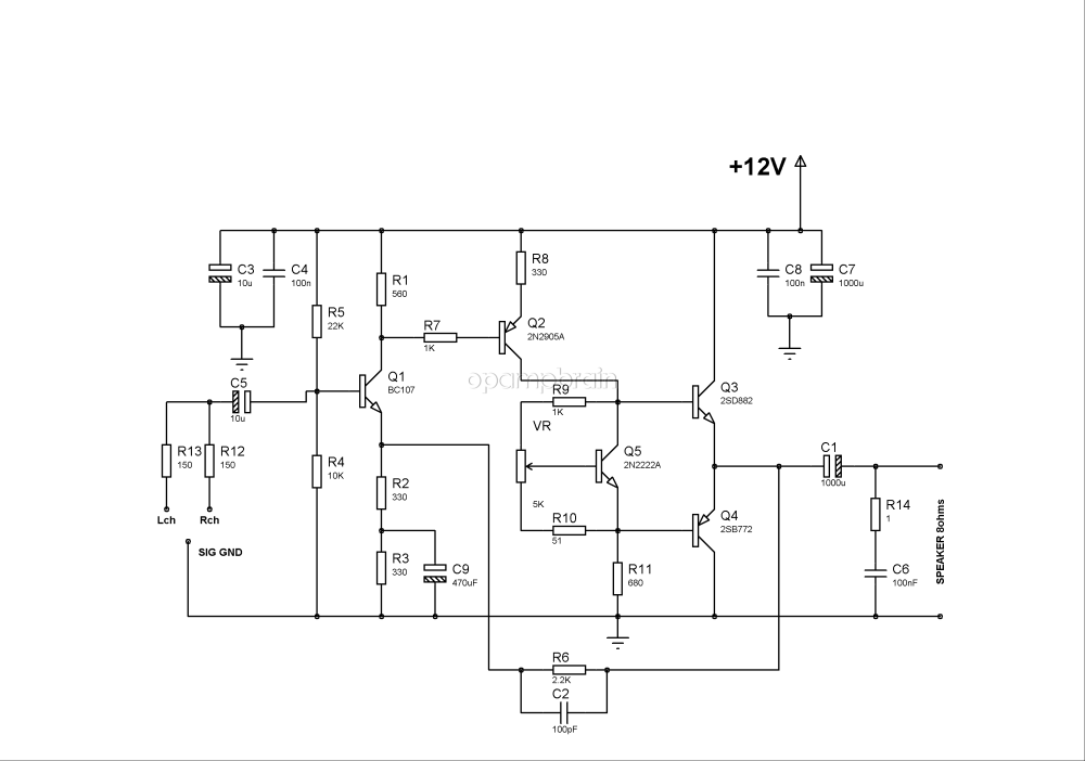 medium resolution of bd139 bd140 audio amplifier schematic