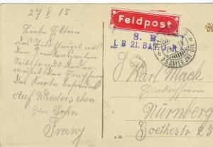 Feldpostkarte Erster Weltkrieg Woinville
