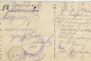 Feldpostkarte Erster Weltkrieg Frankfurt Hbf