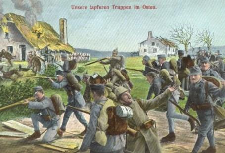 Feldpostkarte Erster Weltkrieg Truppen im Osten