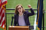 Oregon Gov. Kate Brown speaks during the June 30, 2021, press conference where she declared an end to the state's mask mandate.