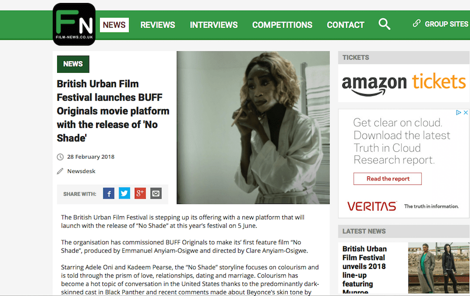 Film News features @bufforiginals @noshadefilm festival premiere @buffenterprises