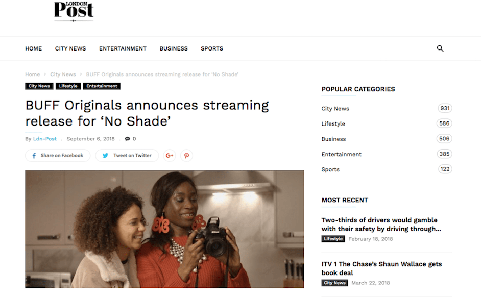 . @londonpost reports @bufforiginals streaming release of @noshadefilm OUT NOW