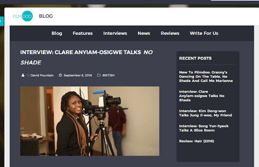 . @FilmDoo licenses @noshadefilm and interviews @clareanyiamo to celebrate it's release on the OTT Platform