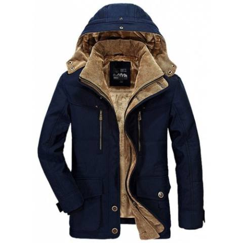 72% off Men Winter Business Casual Multi-pocket Hooded Coat – DEEP BLUE L Gearbest Coupon Promo Code