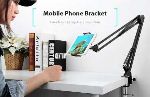 gocomma metal long arm mobile phone holder bracket