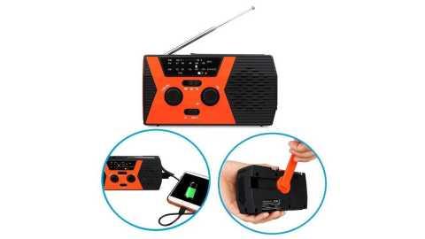 retekess hr12w manual hand crank generator radio with flashlight