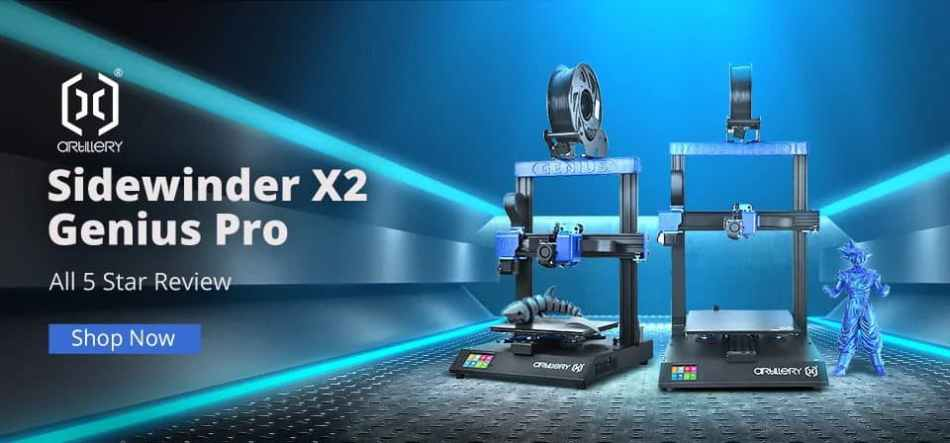 Artillery Sidewinder X2/Genius Pro 3D Printer Banggood Giveaway