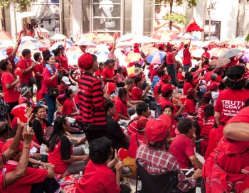 Redshirts listening to the band