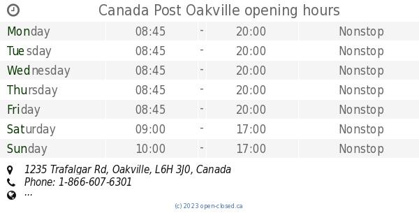 Canada Post Oakville opening hours, 1235 Trafalgar Rd