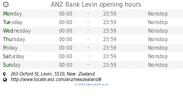 ANZ Levin opening hours 263 Oxford St