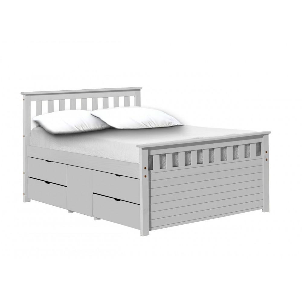 lit meuble 140x200 pin massif blanc