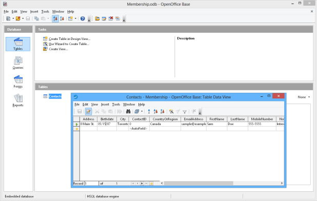 interface openoffice base