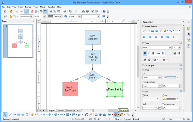 interface openoffice draw