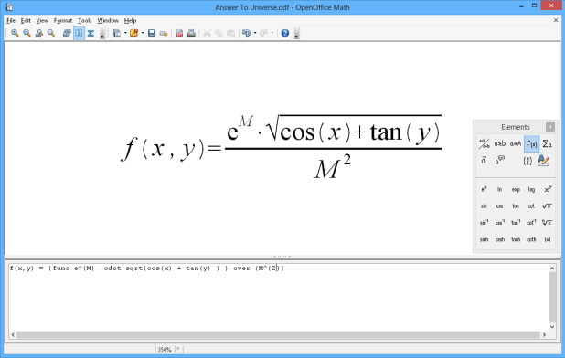 interface openoffice math