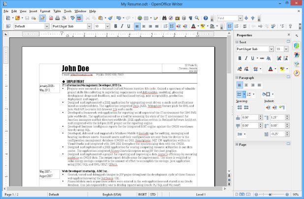 interface openoffice writer