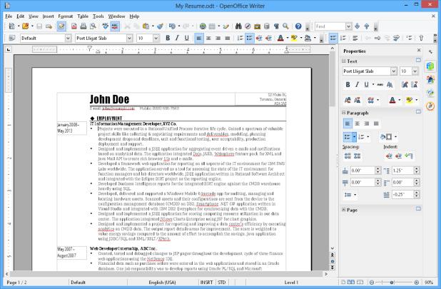 interface openoffice writer