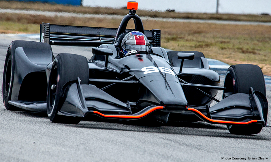 Marco Andretti tests the 2018 IndyCar at Sebring this past week.