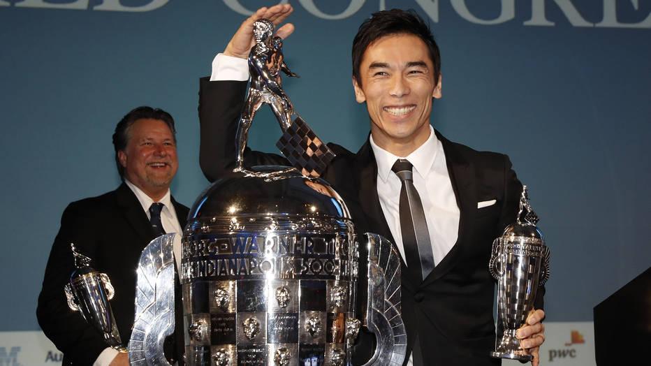 "Michael Andretti and Takuma Sato receive ""Baby Borg"" trophies in Detroit"