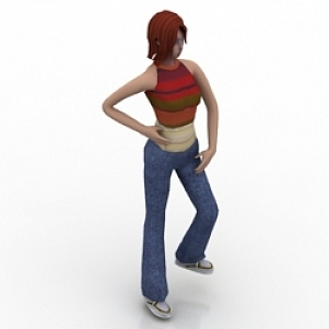 Standing Young Girl 3D Model