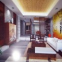 Chinese Gate Abstract Living Room