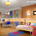 Colored Children Bedroom Interior Scene