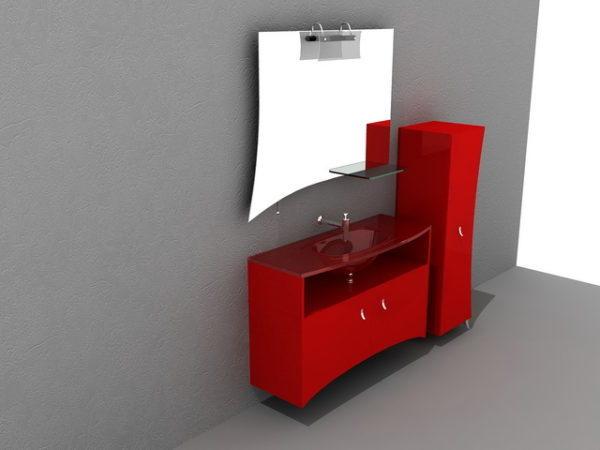 Mobile Bagno Rosso.Mobile Bagno Rosso Con Specchio 3ds Gratuito Max Modello