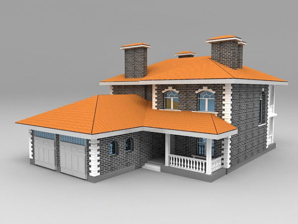 House With Garage Attached 3ds Max Model - Free Download