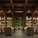 Wooden Coffee Shop With Pots Decoration Interior Scene