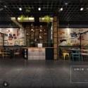 النمط الصناعي مطعم صغير المشهد الداخلي المشهد الداخلي
