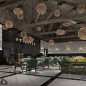 Simple Industrial Restaurant Style With Ceiling Lamp Interior Scene