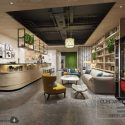 Nordic Style Coffee Shop Interior Scene